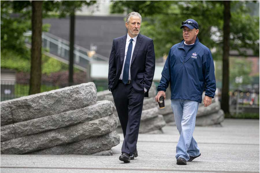 Jon Stewart, left, walks with John Feal. Photo courtesy of the Pat Tillman Foundation.