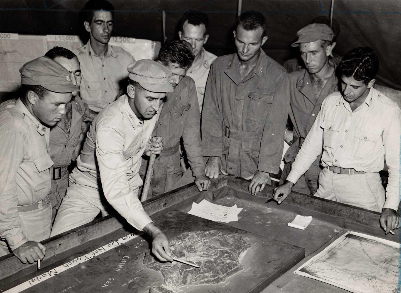 Col. George Jones briefs his staff at Corregidor. Photo courtesy of the author.