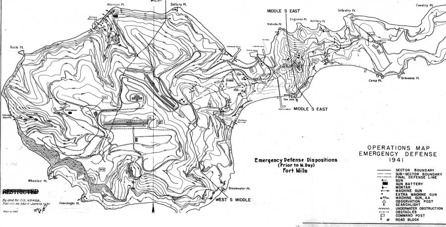 The map Jones' troops used to plan their defense at Corregidor. Photo courtesy of the author.
