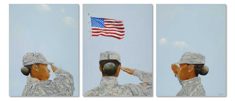 Portrait of a woman Triptych, by Artist Steve Albert