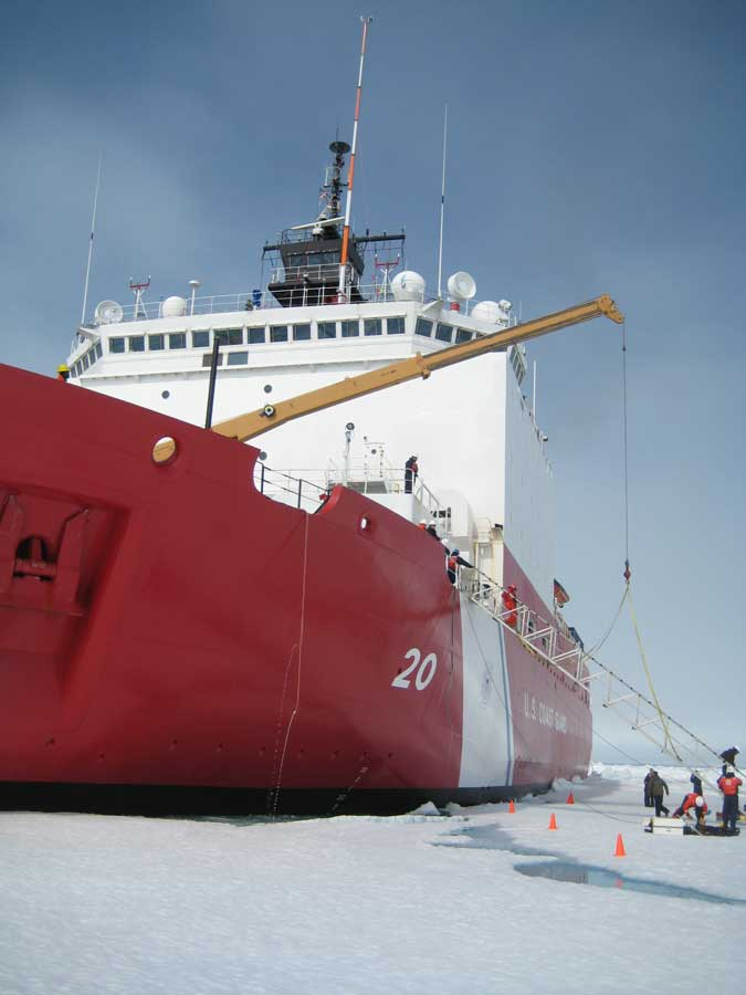 Coast Guard Cutter Healy moores to an ice floe for on-ice research. Photo courtesy of author.