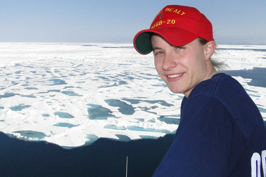 Sonner Kehrt on Healy's flying bridge, far above the Arctic Circle. Photo courtesy of author.