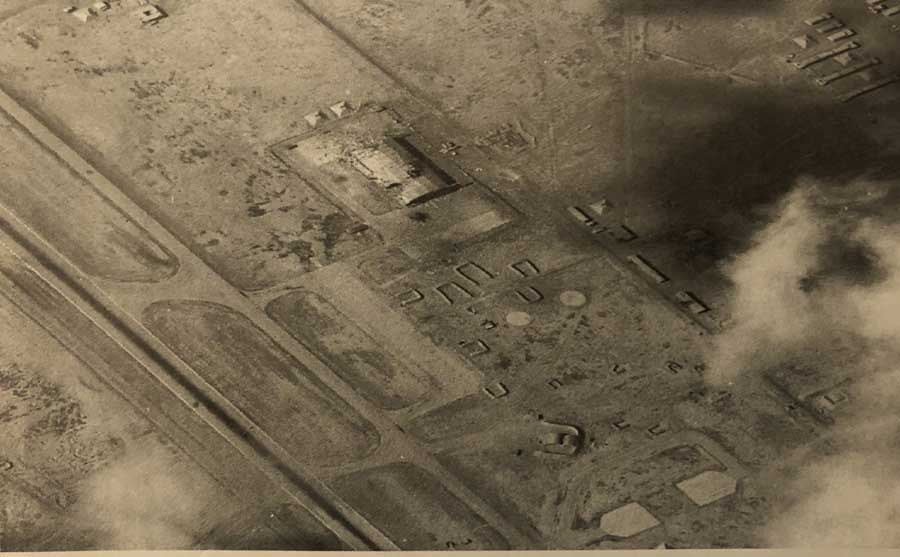 The airport hangar Mark Fox was assigned to bomb. Photo courtesy of Fox.