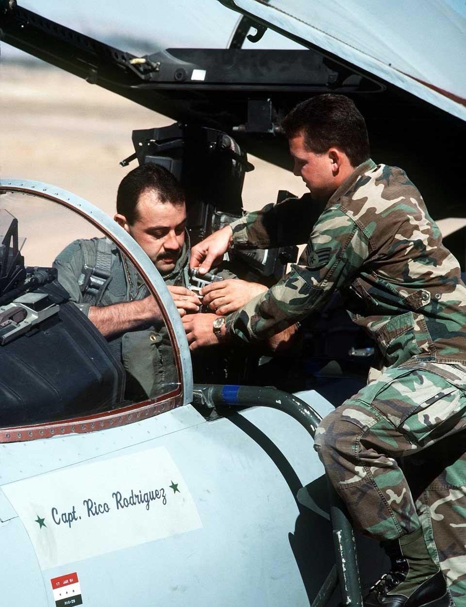 "Cesar ""Rico"" Rodriguez straps into his F-15 Thunderbird before a mission during Operation Desert Storm. Photo courtesy of Rodriguez."