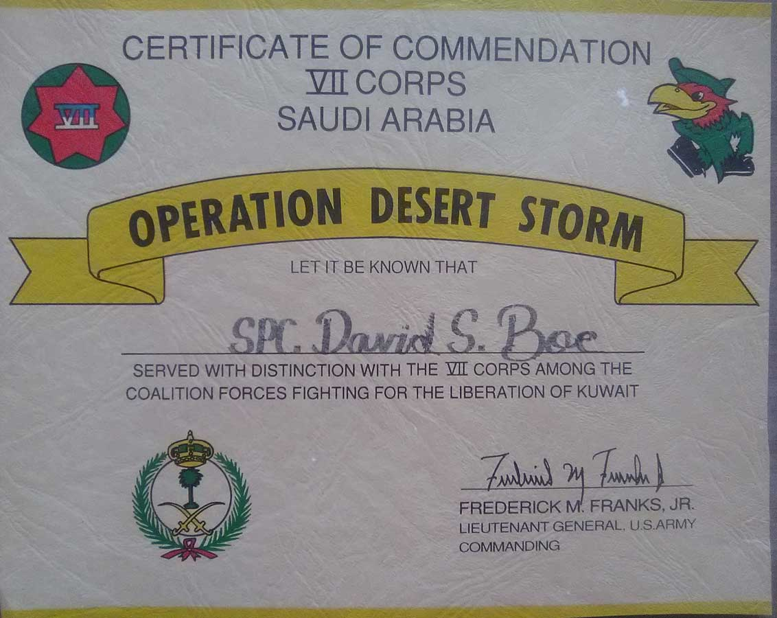 Dave Boe's certificate showing that he served in Desert Storm.