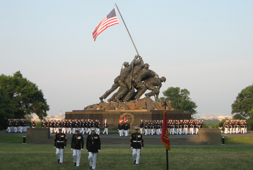 Marines stand in front of the Marine Corps Memorial in Arlington, Virginia, a symbol of the Corps' values of honor, courage, and commitment. Photo by Pfc. Preston McDonald.