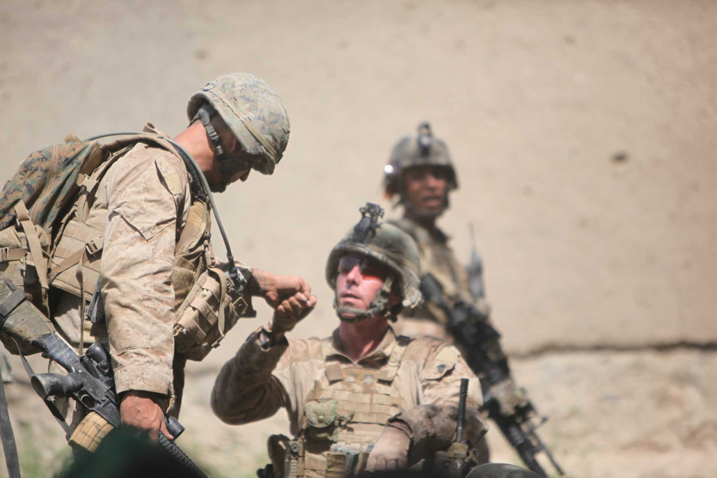 The dismounted quick reaction force squad leader arrives. Photo courtesy of the author.
