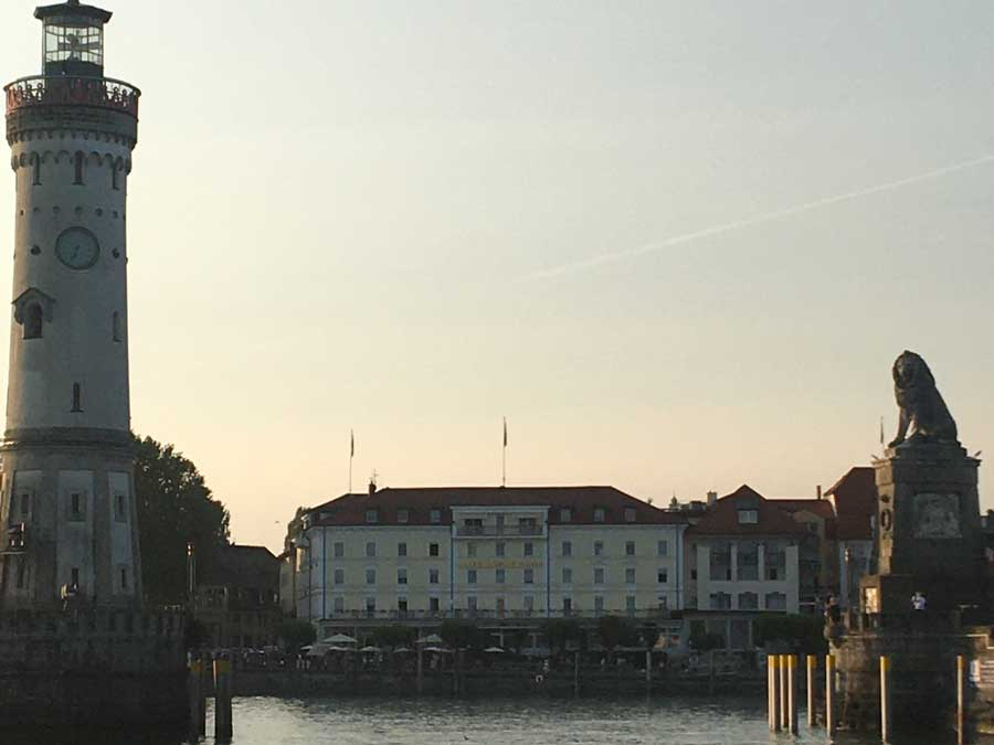 The sun sets over the Lindau harbor on Lake Constance in Germany. Photo courtesy of the author.