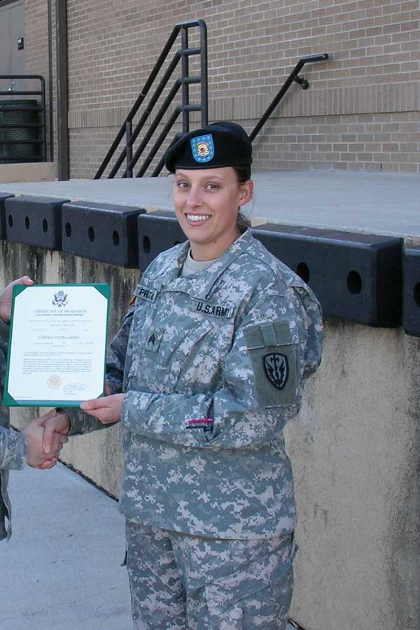 Bettina Hindes gets her sergeant's stripes while on rear detachment in 2007. Photo courtesy of the author.