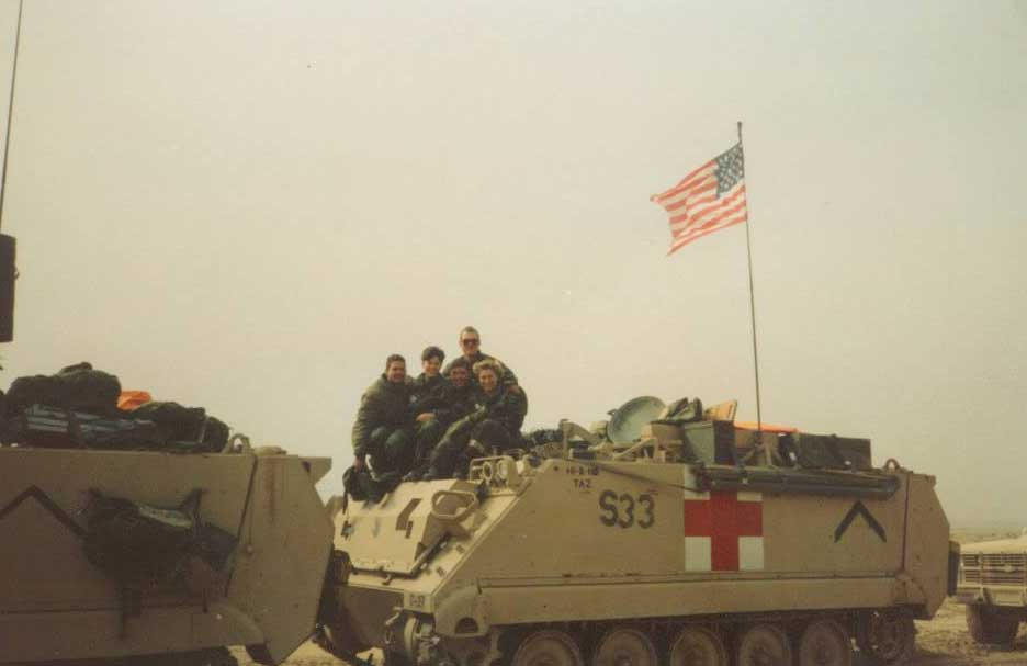 Angela Menard's unit, the 2nd Armored Division, begins its journey out of Saudi Arabia after Desert Storm. Photo courtesy of Angela Menard.