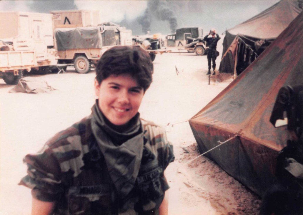Angela Menard's living area was within sight of the oil fires during Operation Desert Storm. Photo courtesy of Angela Menard.