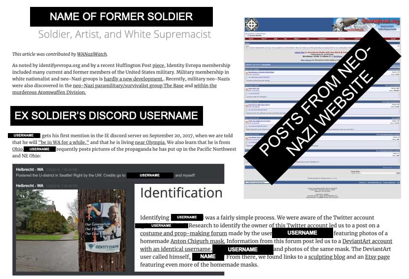 A member of the author's unit was discharged from the Army after an outside group outed him for posting Nazi propaganda. Photo courtesy of the author.
