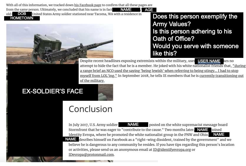 After the author's unit confirmed the identity of a soldier accused of extremism, they tracked his activities online to determine if he had behaved inappropriately. Photo courtesy of the author.