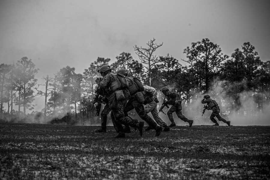 Marines conduct a fire and maneuver exercise to locate and destroy the enemy. US Marine Corps/Lance Cpl. Brian Bolin Jr.