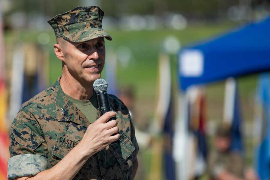 Maj. Gen. Robert F. Castellvi speaks during a change of command ceremony held at Marine Corps Base Camp Pendleton, California, Sept. 22, 2020. U.S. Marine Corps/Cpl. Jailine L. Alicea Santiago