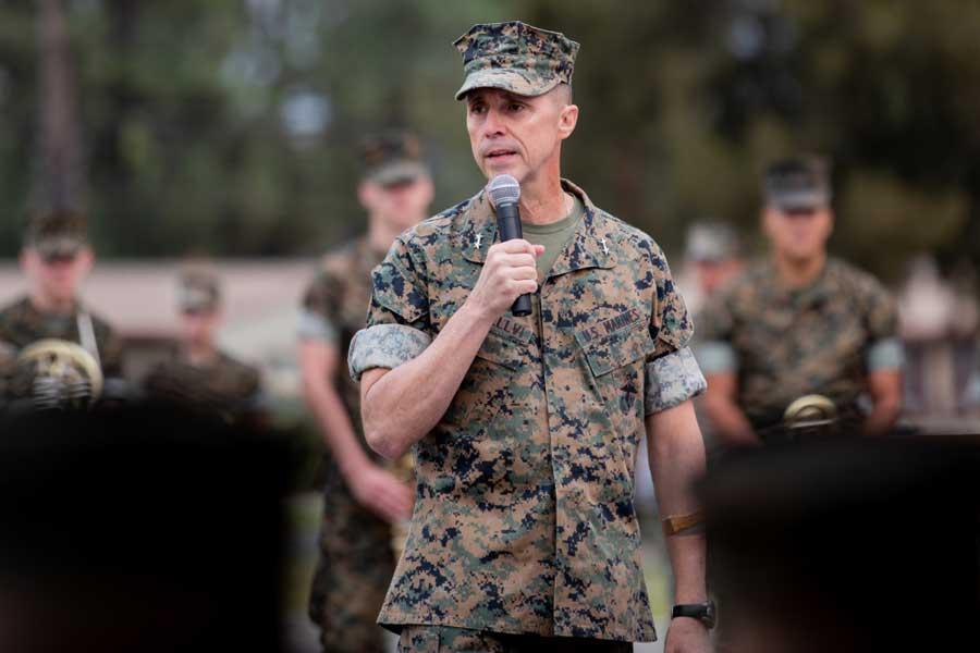Maj. Gen. Robert F. Castellvi gives a speech during the morning colors ceremony at Marine Corps Base Camp Pendleton, California, Sept. 11, 2020. U.S. Marine Corps/Cpl. Jailine L. Alicea Santiago