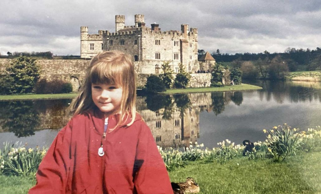 A Military Child Learns What It Means to Be an American. By Leaving - The author in front of Leeds Castle in England.