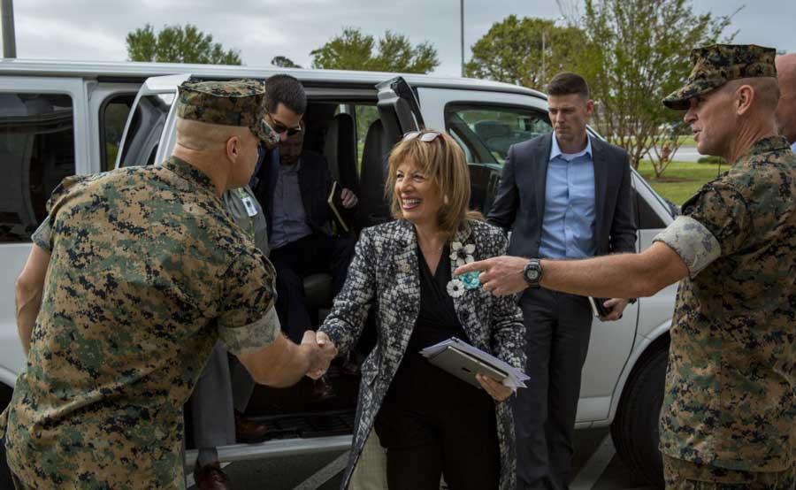 Congresswoman Jackie Speier visits Camp Lejeune, North Carolina, April 12, 2019, to discuss sexual assault and domestic violence. U.S. Marine Corps/Lance Cpl. Isaiah Gomez
