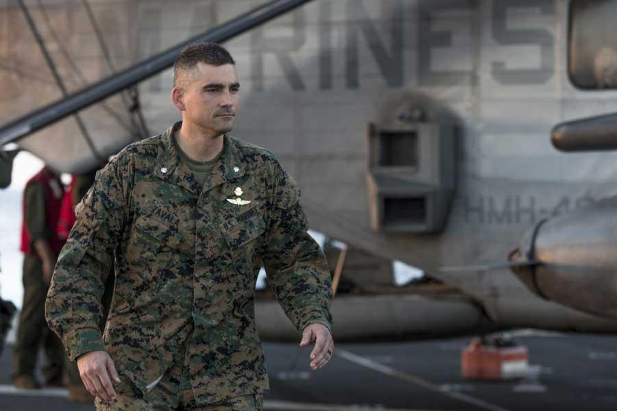 Lt. Col. Francisco Zavala, relieved for domestic violence, walks the flight deck aboard the USS Somerset, Nov. 11, 2018. US Marine Corps/Cpl. Joseph Prado