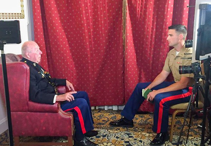 The author interviews former Secretary of State George Schultz for an internal Marine Corps video piece in October 2016. Photo courtesy of the author.