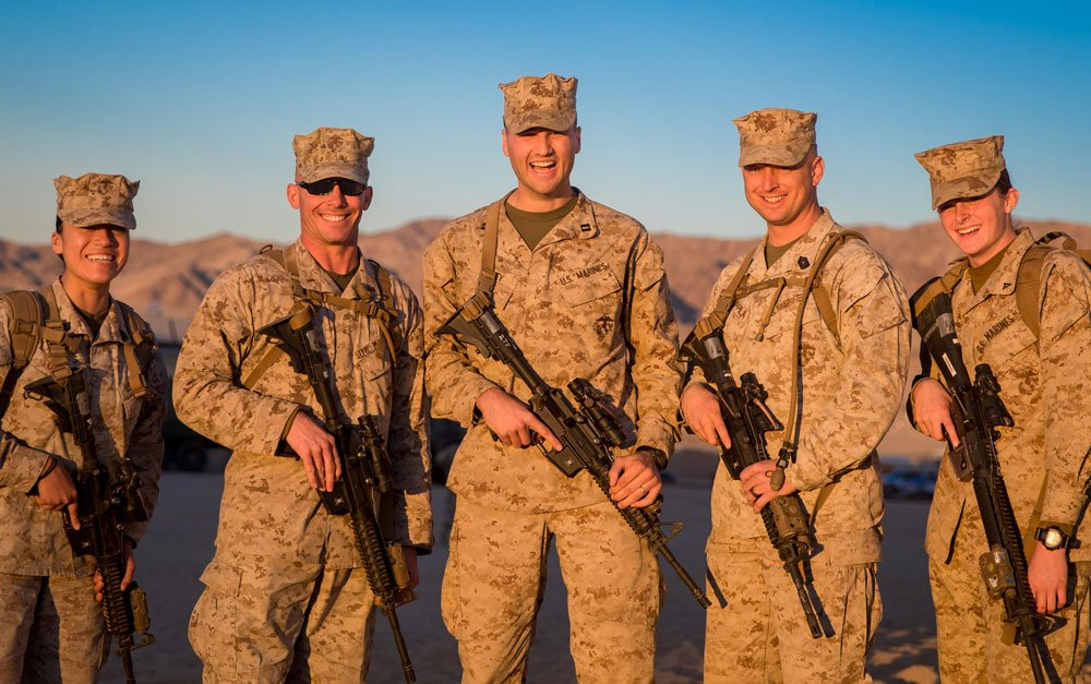 The author poses with Marines from his section during a training exercise in December 2017. Photo courtesy of the author.