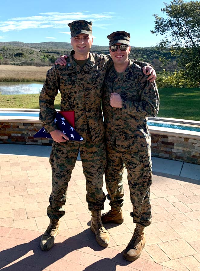The author poses with his production chief, Staff Sgt. Stephen Johnson, after his retirement ceremony in February 2020. Photo courtesy of the author.