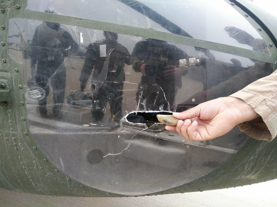Damage to a Black Hawk from rocks that were thrown at the aircraft by sling in Helmand province in 2019. Photo courtesy of the author.