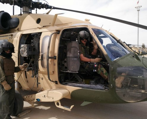 An all-Afghan crew prepares to launch on a medevac mission in Helmand province in 2019. Photo courtesy of the author.