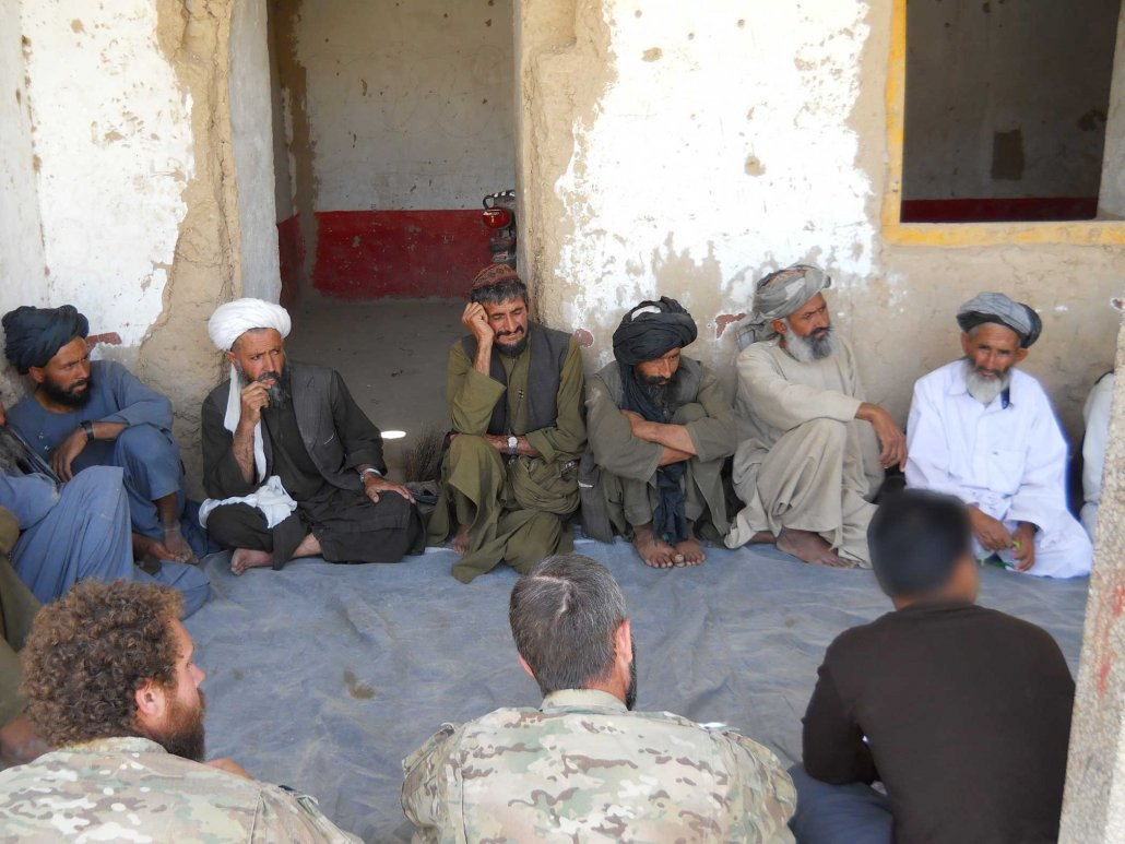 Afghan community leaders express their concerns at a shura. Photo courtesy of the author.