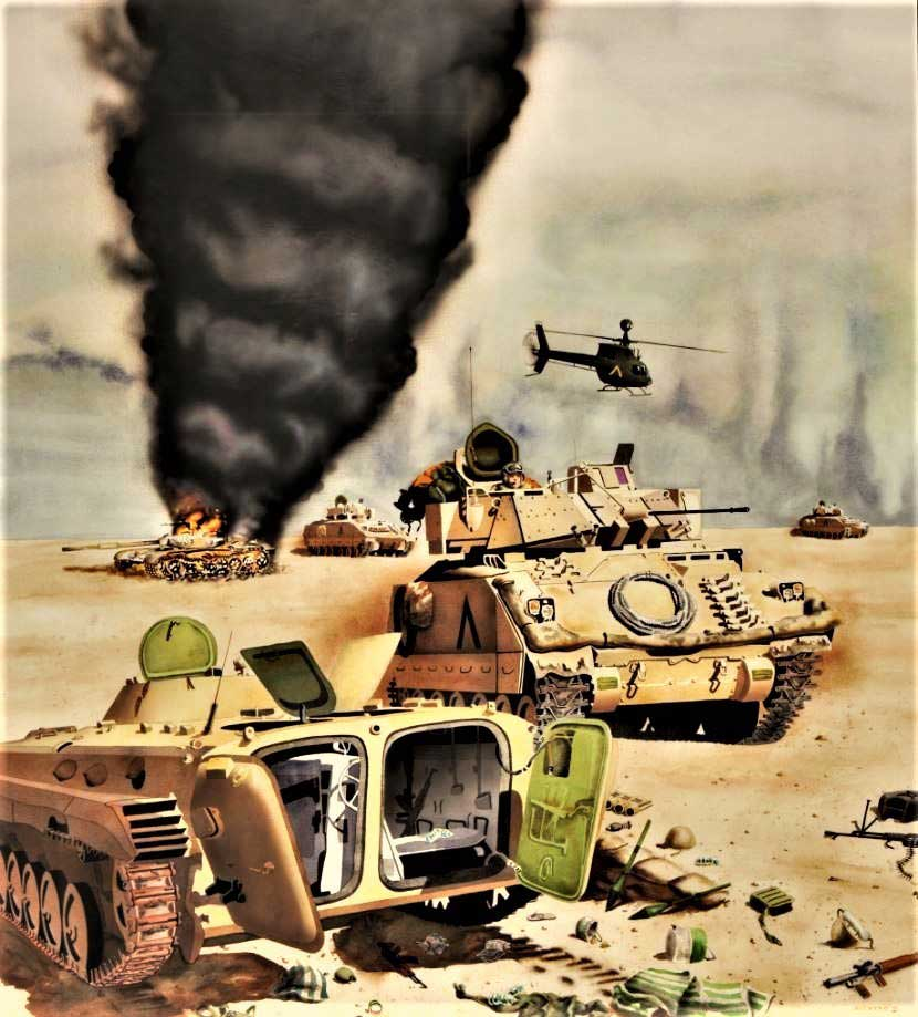 In Marion Acevedo's 1991 watercolor on paper, The Cavalry Advances, M3 Bradley Fighting Vehicles from a VII Corps cavalry unit pass by destroyed Iraqi armored vehicles. Photo by Scott Sturkol, courtesy of U.S. Army.