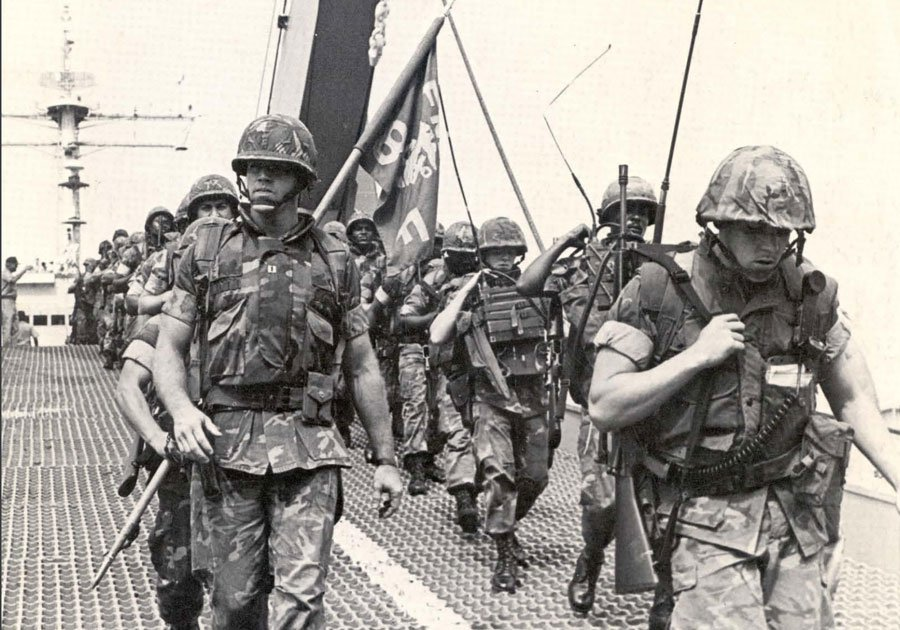 Capt. Richard C. Zilmer leads his Company F, Battalion Landing Team 2/8, Marines ashore from the landing ship Saginaw at the port of Beirut on Sept. 29, 1982. Photo courtesy of U.S. Navy.