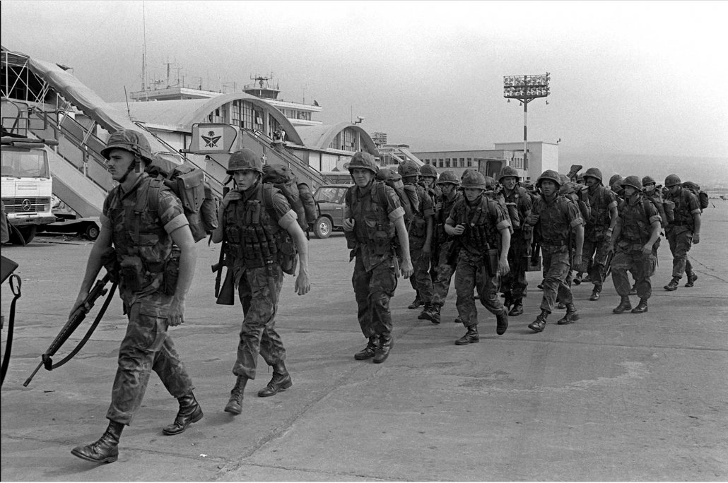 U.S. Marines marched across the runway apron of Beirut International Airport in Lebanon upon their arrival. Photo courtesy of U.S. National Archives.