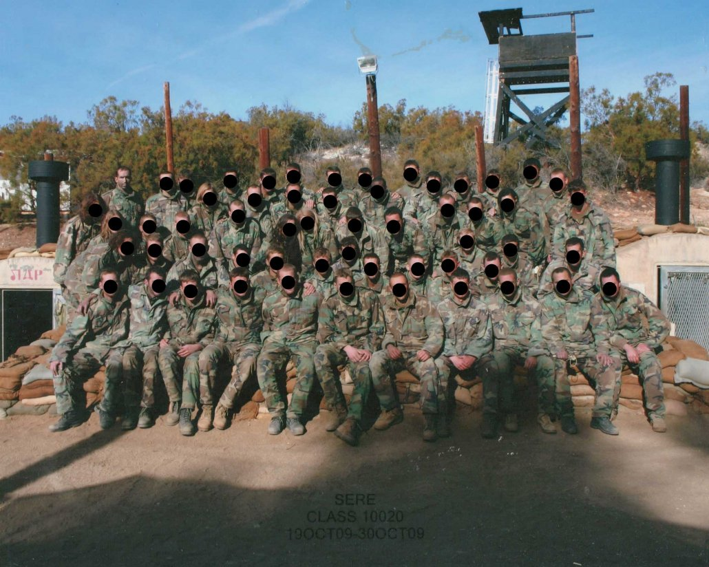 Joshua Plummer's redacted SERE class picture. He's pictured top left. Photo courtesy of the author.