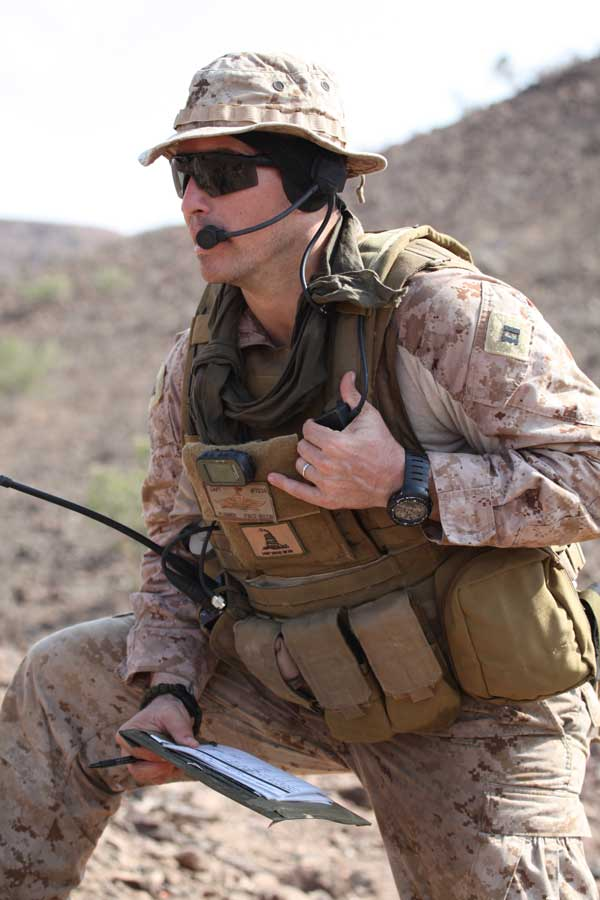 Joshua Plummer calls in an airstrike during a training mission in 2011. Photo courtesy of the author.