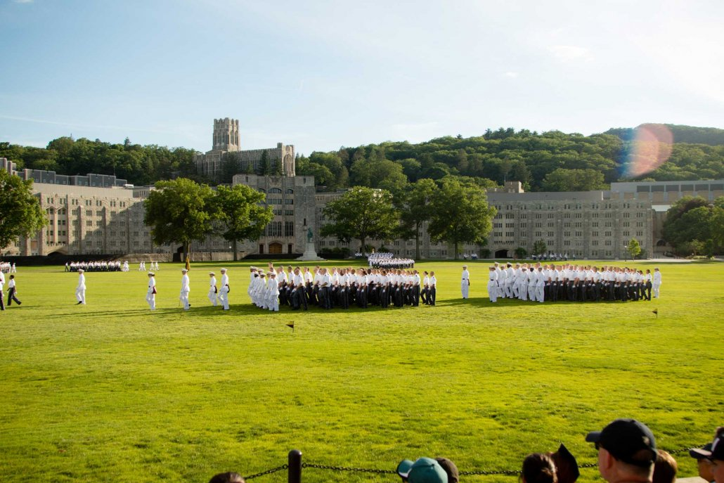 West Point cadets march on the parade grounds during graduation.