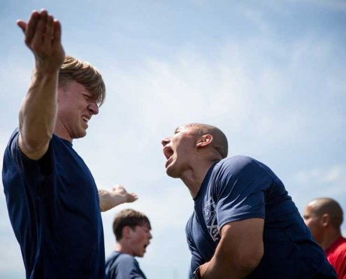 Future Marines from Marine Corps Recruiting Station Fort Worth get a taste of what recruit training will be like during the station's Annual Pool Function in 2019.