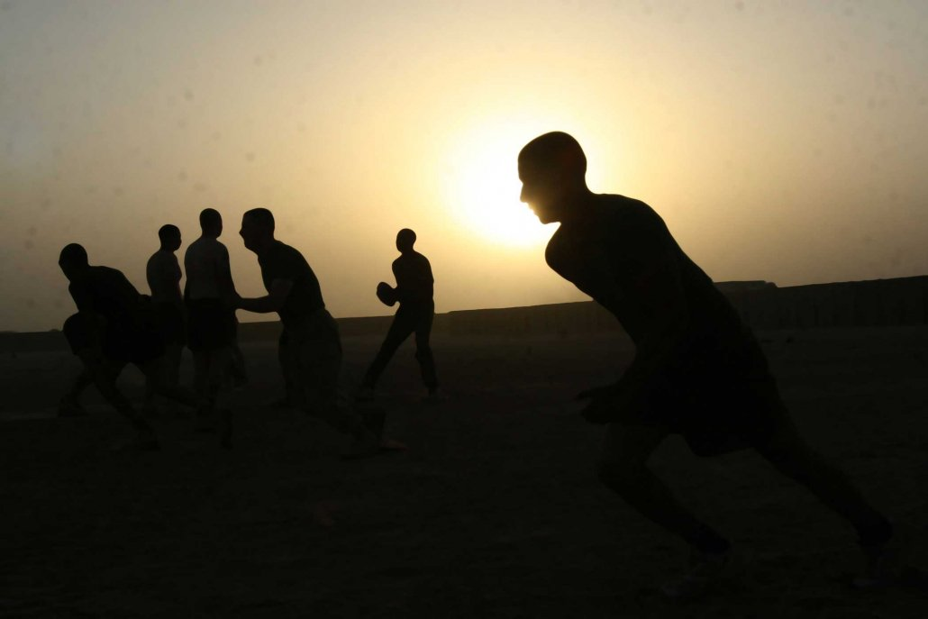 Marines conduct physical training in Afghanistan in 2009. Photo by Sgt. Scott Whittington, courtesy of U.S. Marine Corps.