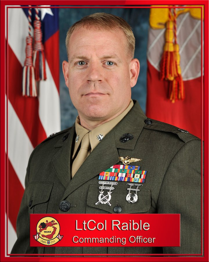 U.S. Marine Lt. Col. Chris K. Raible, former commanding officer of Marine Attack Squadron 211 at Marine Corps Air Station Yuma, Ariz., in 2012. Photo by Cpl. Ken Kalemkarian, courtesy of U.S. Marine Corps.