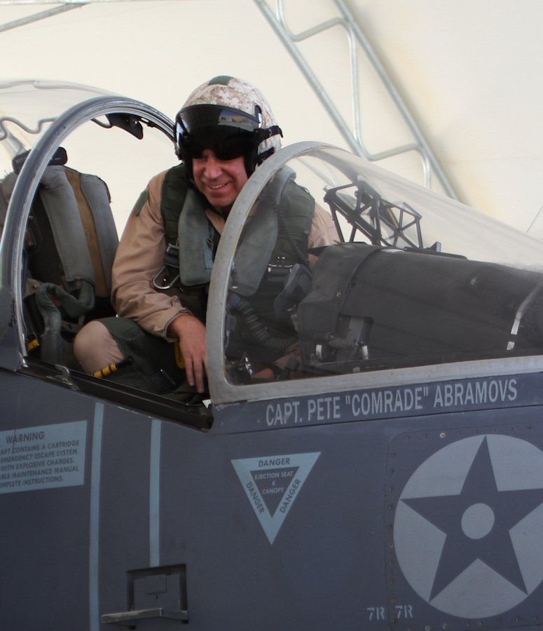 Lt. Col. Chris Raible, commanding officer of Marine Attack Squadron 211, smiles after landing the first AV-8B Harrier jet from Marine Attack Squadron 211 at Camp Bastion, Afghanistan, in 2012. The landing marked the squadron's official move from Kandahar Airfield to Camp Bastion. Photo by Cpl. Lisa Tourtelot, courtesy U.S. Marine Corps.
