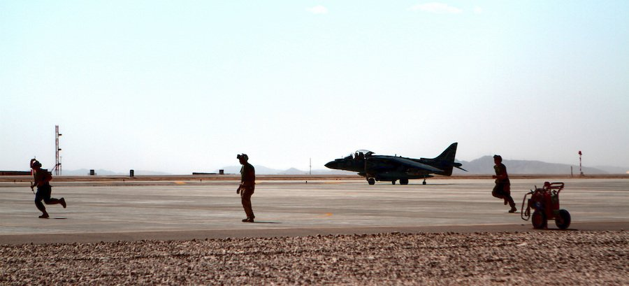 The first AV-8B Harrier jet from Marine Attack Squadron 211 lands at Camp Bastion, Afghanistan, in 2012. Lt. Col. Chris Raible, a Pittsburgh native, landed the jet. Photo by Cpl. Lisa Tourtelot, courtesy U.S. Marine Corps.