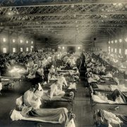 Soldiers at Camp Funston, Kansas, are quarantined while recovering from the Spanish flu in 1918. The flu infected about 500 million people around the world. Photo courtesy National Archives.