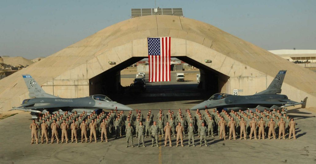 Eric Chandler, middle of front row, with the 148th Fighter Wing Bulldogs at Balad Air Base, Iraq, in 2009. Photo courtesy of the author.