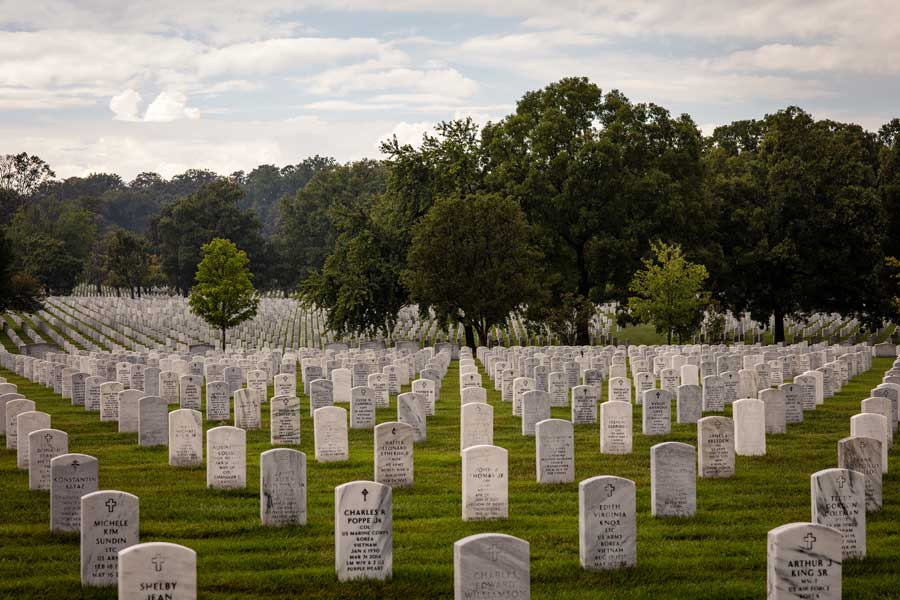 The rolling fields at Arlington National Military Cemetery in August 2021. Photo by Eliot Dudik, for The War Horse.