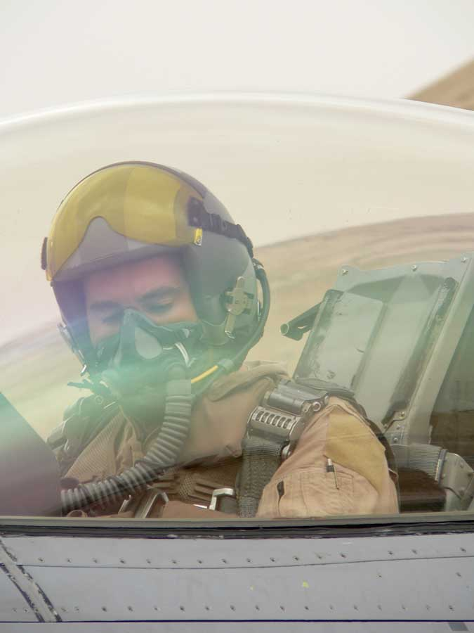 Eric Chandler prepares to fly at Balad Air Base, Iraq, in 2005. Photo courtesy of the author.