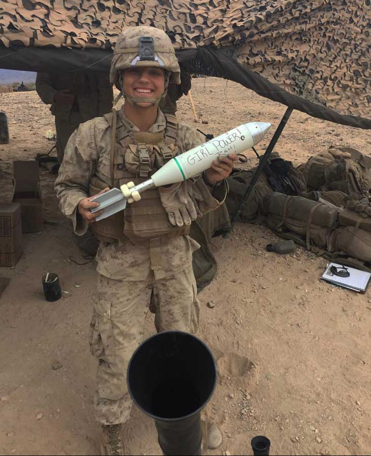 The first enlisted infantrywoman, then-Pfc. Maria Daume, prepares to fire an 81 mm mortar round at Camp Lejeune, NC. Photo courtesy of Maria Dauma.