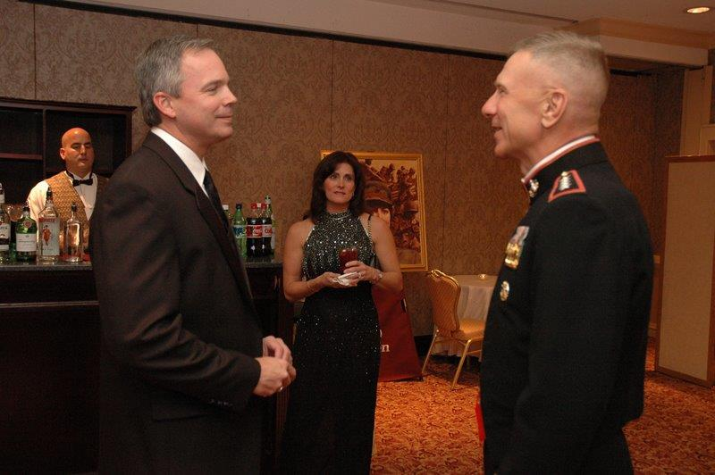 Robert Hogue; his wife, Cheryl; and his daughter, Samantha, stand with Gen. Michael Hagee, then-commandant of the Marine Corps. Photo courtesy of Robert Hogue.