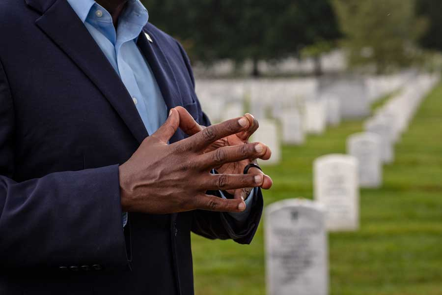 Sgt. Maj. Carlton Kent discusses the burden of leadership and the sacrifices of service members at Arlington National Military Cemetery. Photo by Eliot Dudik, for The War Horse.