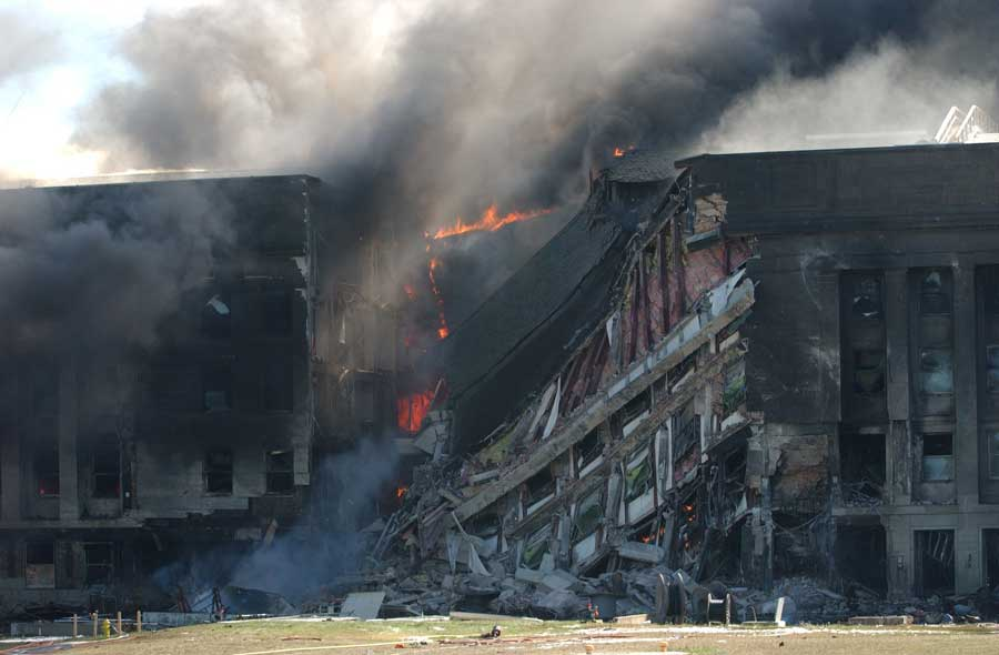 Shortly after impact, the section of the Pentagon where Robert Hogue worked collapsed.