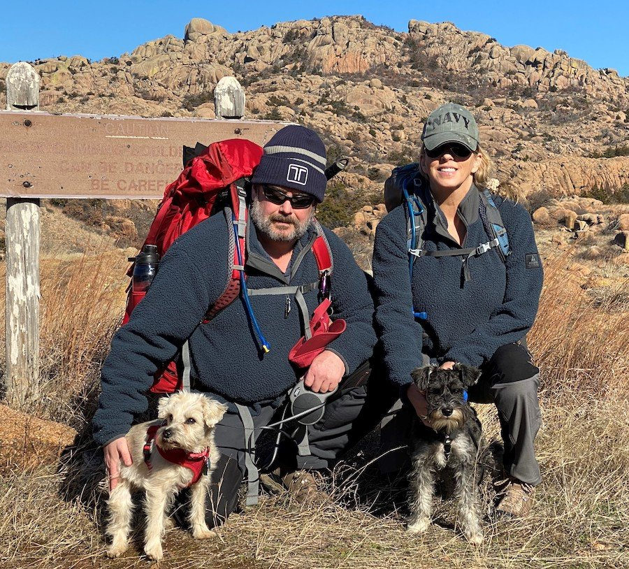 Johnnie Gilpen, left, with his wife, Leslie, and his dogs, Cookey and Harley. Photo courtesy of the author.