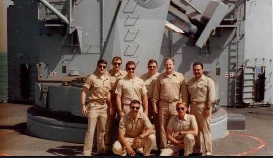 Alex Perez, far right, with his shipmates on the USS Samuel B. Roberts in 1988.